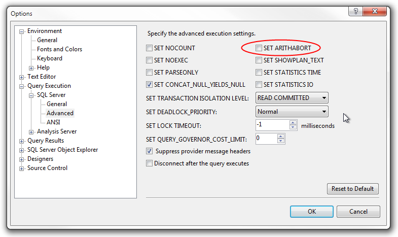 SET ARITHABORT setting in MS SQL Management Studio